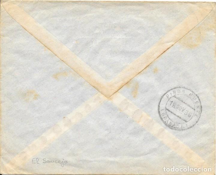 Sellos: GUERRA CIVIL. PAREJA ESPECIAL MOVIL DE 15 CTS. DE EL SAUCEJO A PINOS PUENTE. 1936 - Foto 2 - 145178106