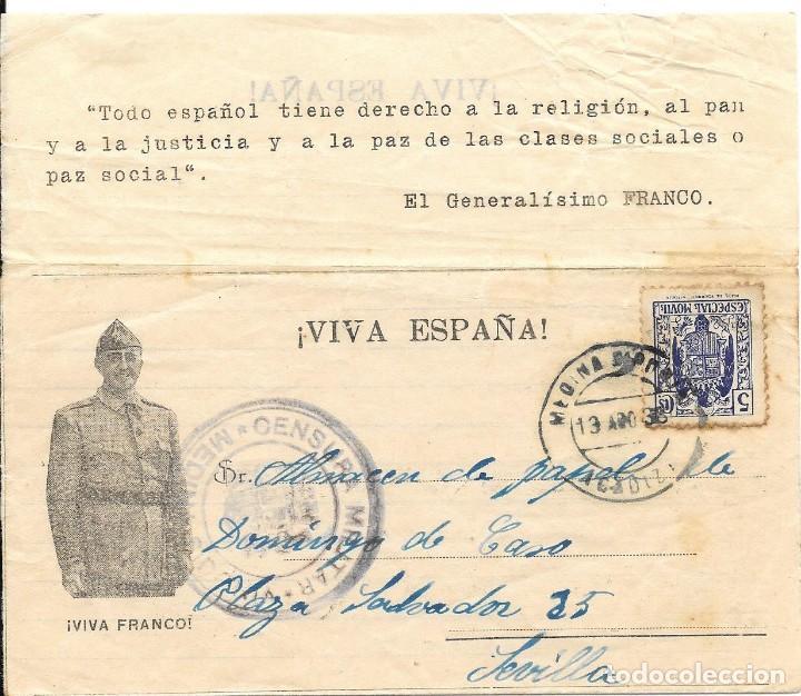 GUERRA CIVIL. TIMBRE ESPECIAL MOVIL DE 5 CTS. DE MEDINA SIDONIA A SEVILLA. 1938 (Sellos - España - Guerra Civil - De 1.936 a 1.939 - Cartas)