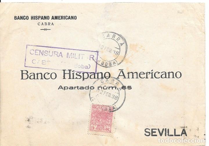 GUERRA CIVIL. TIMBRE ESPECIAL MOVIL DE 30 CTS. DE CABRA A SEVILLA. 1938 (Sellos - España - Guerra Civil - De 1.936 a 1.939 - Cartas)