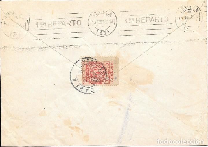 Sellos: GUERRA CIVIL. TIMBRE ESPECIAL MOVIL DE 30 CTS. DE CABRA A SEVILLA. 1938 - Foto 2 - 145178694