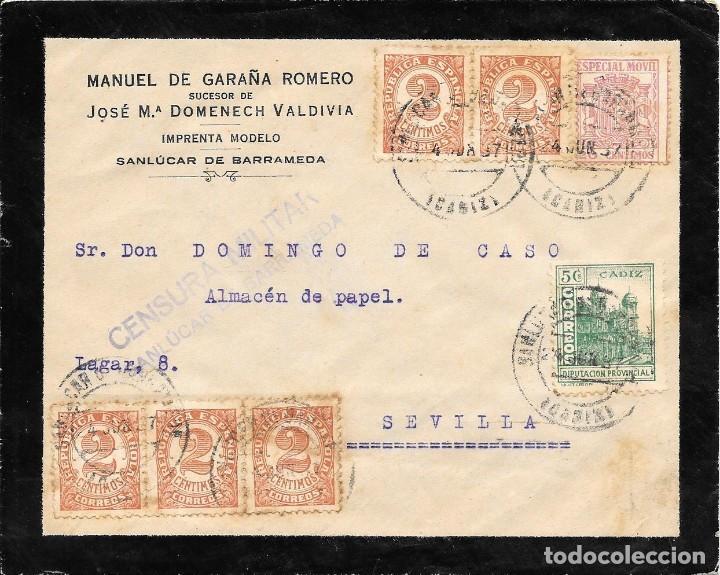 GUERRA CIVIL. TIMBRE ESPECIAL MOVIL DE 20 CTS. DE SAN LUCAR A SEVILLA. 1937 (Sellos - España - Guerra Civil - De 1.936 a 1.939 - Cartas)