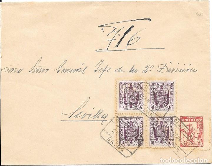 GUERRA CIVIL. TIMBRE ESPECIAL MOVIL DE 20 CTS. DE BAENA A SEVILLA. 1938 (Sellos - España - Guerra Civil - De 1.936 a 1.939 - Cartas)