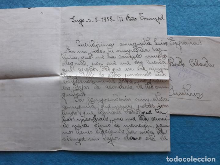 Sellos: Sobre circulado Guitiriz - Lugo. Franqueado el 4 de Agosto de 1938. Censura Militar Lugo. - Foto 6 - 145625714