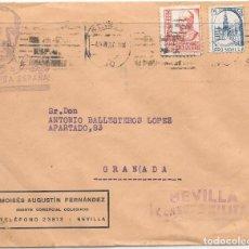 Sellos: SOBRE PATRIOTICO CON IMAGEN DE FRANCO. DE SEVILLA A GRANADA. . Lote 145745126