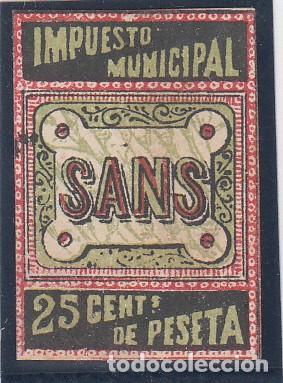IMPUESTO MUNICIPAL / SANS (BARCELONA), 25 CTS, NO RESEÑADO, (Sellos - España - Guerra Civil - Viñetas - Nuevos)