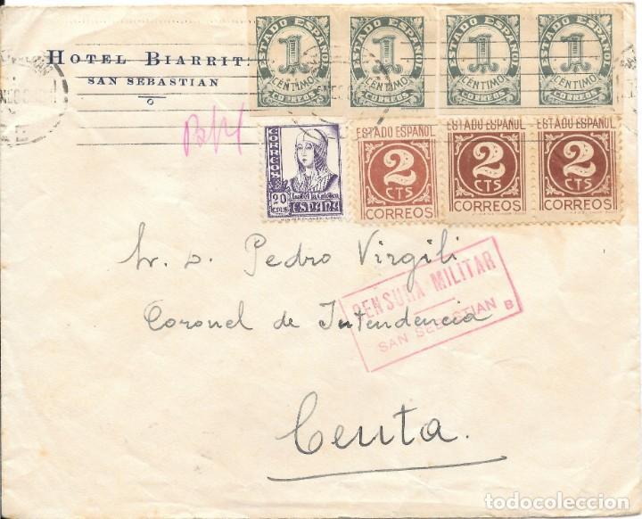 SOBRE CIRCULADO DE SAN SEBASTIAN A CEUTA. EDIFIL 814 - 815 - 821 (Sellos - España - Guerra Civil - De 1.936 a 1.939 - Cartas)