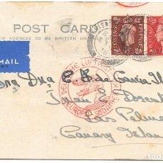 Sellos: GUERRA CIVIL. TARJETA CIRCULADA DE INGLATERRA A LAS PALMAS POR ALEMANIA. 1938. Lote 145888634