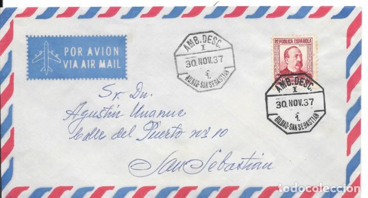 GUERRA CIVIL. SOBRE CIRCULADO DE BILBAO A SAN SEBASTIAN. AMBULANTE. 1938 (Sellos - España - Guerra Civil - De 1.936 a 1.939 - Cartas)