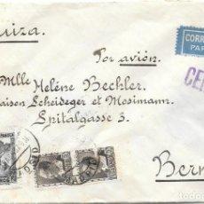 Sellos: GUERRA CIVIL. CORREO AEREO. EDIFIL 663 - 673. SOBRE CIRCULADO DE MADRID A BERNA - SUIZA. 1937. Lote 145889566