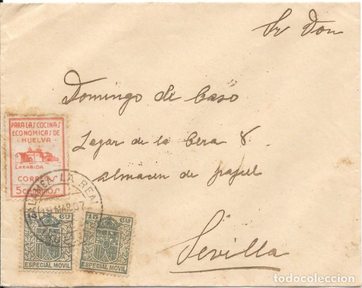 GUERRA CIVIL. HUELVA. DE ZALAMEA LA REAL A SEVILLA. 1937 (Sellos - España - Guerra Civil - De 1.936 a 1.939 - Cartas)
