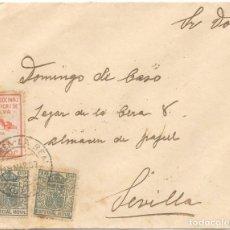Sellos: GUERRA CIVIL. HUELVA. DE ZALAMEA LA REAL A SEVILLA. 1937. Lote 145899778