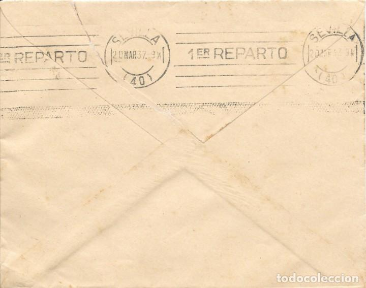 Sellos: GUERRA CIVIL. HUELVA. DE ZALAMEA LA REAL A SEVILLA. 1937 - Foto 2 - 145899778