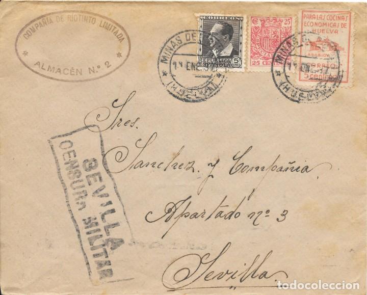 GUERRA CIVIL. HUELVA. DE MINAS DE RIO TINTO A SEVILLA. 1937 (Sellos - España - Guerra Civil - De 1.936 a 1.939 - Cartas)