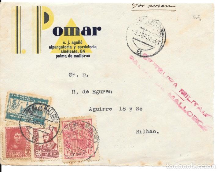GUERRA CIVIL. CORREO AEREO. DE PALMA DE MALLORCA A BILBAO. FRONTAL. 1938 (Sellos - España - Guerra Civil - De 1.936 a 1.939 - Cartas)