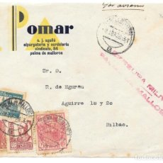 Timbres: GUERRA CIVIL. CORREO AEREO. DE PALMA DE MALLORCA A BILBAO. FRONTAL. 1938. Lote 145902598