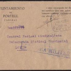 Sellos: 1940. GUERRA CIVIL. EL PORTELL (LÉRIDA) A LLEIDA.. Lote 146382718