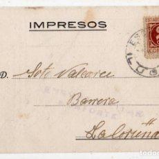 Sellos: TARJETA PUBLICITARIAANTIGUA CON CENSURA MILITAR DE MONFORTE. LUGO.. Lote 146434634