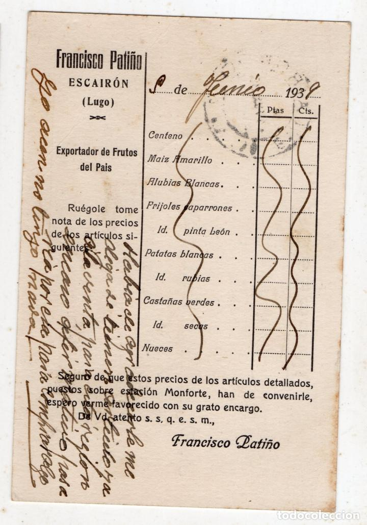 Sellos: Tarjeta publicitariaantigua con Censura Militar de Monforte. Lugo. - Foto 3 - 146434634
