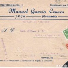 Sellos: ESPAÑA. CARTA DE LOJA A SEVILLA CON SELLO REPUBLICANO Y LOCAL DE LOJA. Lote 146509222