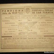 Sellos: SOBRE FIESTAS Y FERIAS DE SAN FERMÍN JULIO DE 1939. CENSURA MILITAR PAMPLONA. EUGUI HERMANOS.. Lote 146673314