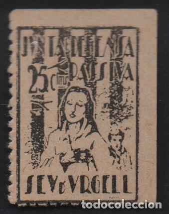 SEU DE URGELL, 25 CTS, DEFENSA PASIVA, VER FOTO (Sellos - España - Guerra Civil - De 1.936 a 1.939 - Usados)