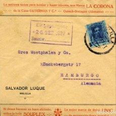 Sellos: ESPAÑA. 1ª GUERRA MUNDIAL. MELILLA. 21.09.27 A ALEMANIA. PRECIOSO SOBRE PUBLICITARIO. Lote 147009134