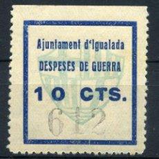 Sellos: ESPAÑA. GUERRA CIVIL. IGUALADA. EDIFIL Nº39. NÚMEROS GRANDES EN NEGRO. Lote 147020986