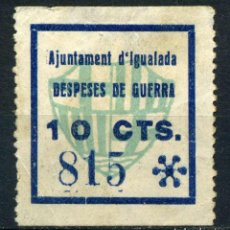 Sellos: ESPAÑA. GUERRA CIVIL. IGUALADA. EDIFIL Nº41. ASTERISCO GRANDE. NÚMERO EN AZUL. Lote 147021190