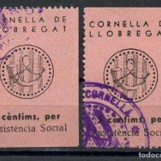 Sellos: GUERRA CIVIL, VIÑETA, CORNELLA DE LLOBREGAT, ASSINTENCIA SOCIAL, VALOR: 5 CTS.. Lote 147056250