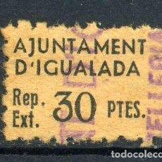Sellos: ESPAÑA. GUERRA CIVIL. IGUALADA. IMPUESTO DE GUERRA EXTRAORDINARIO PARA COMERCIOS Y INDUSTRIA.. Lote 147130786