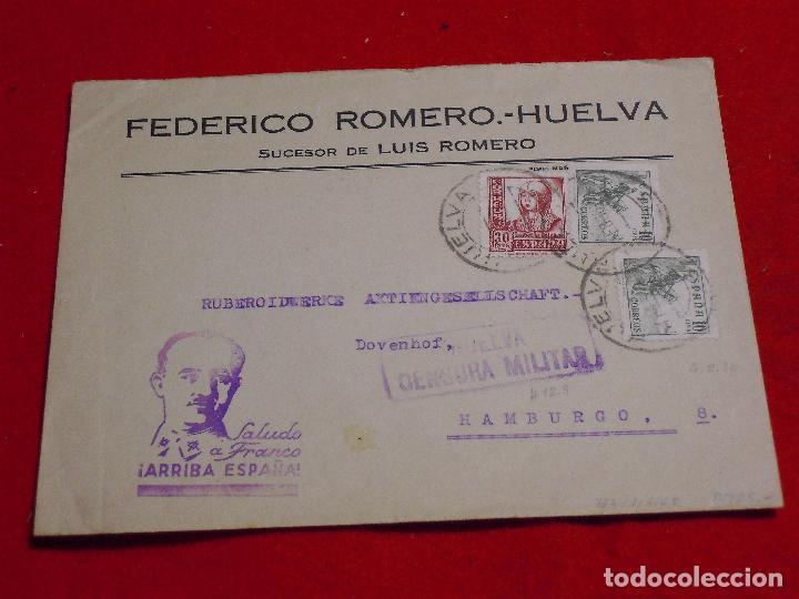 SOBRE CIRCULADO DE HUELVA A HAMBURGO EN 1938. CENSURA MILITAR. (Sellos - España - Guerra Civil - De 1.936 a 1.939 - Cartas)