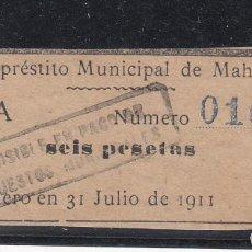 Sellos: ,,,TIMBRE RESGUARDO EMPRÉSTITO MUNICIPAL DE MAHÓN, SERIE A Nº 0108 SEIS PAGADERO 31/7/1911 TAMPÓN +. Lote 147360570