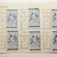 Sellos: AMO DE CASA, MINISTERIO DE TRABAJO, HOJA CON OCHO VIÑETAS, 1960. Lote 147458354