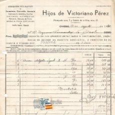 Sellos: ESPAÑA. FACTURA FECHADA EN OVIEDO CON SELLO LOCAL. Lote 147632110