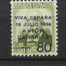 Sellos: ESPAÑA CANARIAS 1937 EDIFIL 16 * MH - 4/5. Lote 147752726