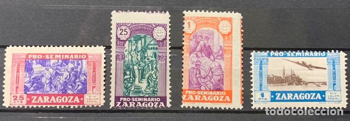 VIÑETAS BENÉFICAS PRO SEMINARIO ZARAGOZA NUEVOS (Sellos - España - Guerra Civil - Beneficencia)