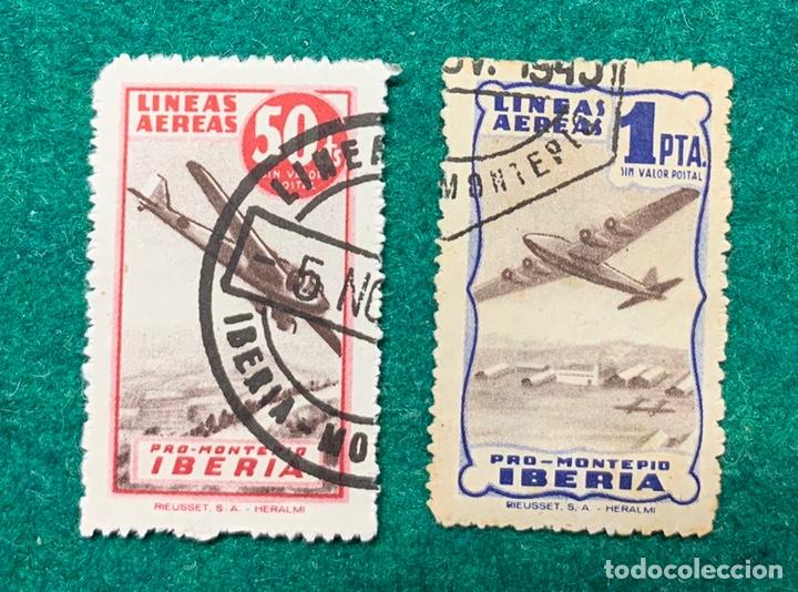 DOS SELLOS PRO MONTEPIO IBERIA (Sellos - España - Guerra Civil - Beneficencia)