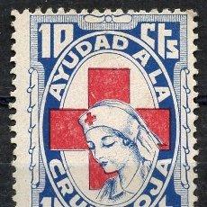 Sellos: GUERRA CIVIL, VIÑETA, AYUDAD A LA CRUZ ROJA, 1937, VALOR: 10 CÉNTIMOS. Lote 147946170