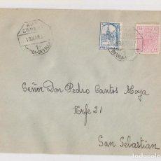 Sellos: SOBRE A SAN SEBASTIÁN. 1937. AMBULANTE MÉRIDA - SEVILLA. CON SELLO LOCAL Y FISCAL. Lote 147976350