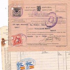 Sellos: ESPAÑA. DOS FACTURAS Y UN CERTIFICADO CON SELLOS LOCALES DE ASTURIAS. Lote 148155698