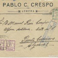 Sellos: CARTA CIRCULADA DE UTRERA A ALGECIRAS CON SELLOS LOCALES DE UTRERA. Lote 148191178