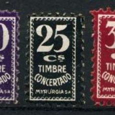Sellos: ESPAÑA. TIMBRES PRIVADOS. MYRURGIA. VALORES DE 5,15,20,25,35,60 Y 90CTS (7). Lote 148783338