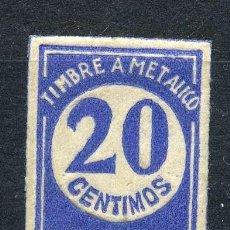 Sellos: ESPAÑA. TIMBRES A METÁLICO F.B. 20CTS. AZUL. Lote 148784622