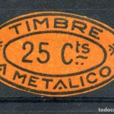 Sellos: ESPAÑA. TIMBRE A METÁLICO. 25CTS. Lote 148890078