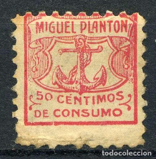 ESPAÑA. CUPONES. AHORRO - PRIMA. MIGUEL PLANTÓN 50CTS (Sellos - España - Guerra Civil - Viñetas - Nuevos)