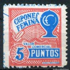 Sellos: ESPAÑA. CUPONES. AHORRO - PRIMA. CUPONES FEMINA. 5 PUNTOS. Lote 148895434
