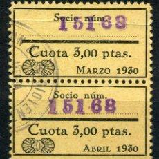 Sellos: ESPAÑA. IMPUESTO RADIO-AUDICIÓN. PAREJA 3PTAS. 1930. NO RESEÑADO EN ALEMANY-EDIFIL. Lote 148895914