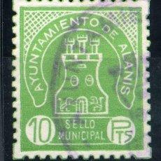 Sellos: ESPAÑA. GUERRA CIVIL. ALANÍS (SEVILLA). MUNICIPAL 10PTAS. Lote 149161986
