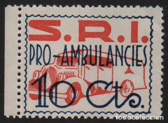 VIÑETA, S.R.I. 10 CTS. -PRO AMBULANCIA- NUEVO CON GOMA, VER FOTO (Sellos - España - Guerra Civil - De 1.936 a 1.939 - Nuevos)