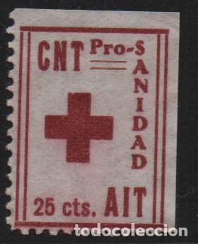 C.N.T. A.I.T. 25 CTS, -PRO SANIDAD- VER FOTO (Sellos - España - Guerra Civil - De 1.936 a 1.939 - Nuevos)